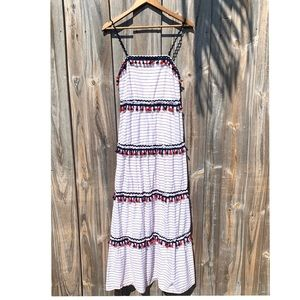 Luna White Blue & Red Tassel Maxi Dress